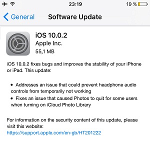 iOS 10.0.2 Software Update screen.