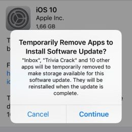 ios temporarily remove apps to install software update