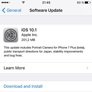 ios 10.1 software update screen