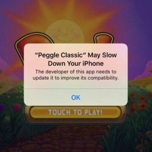 iOS app may slow down your iphone warning