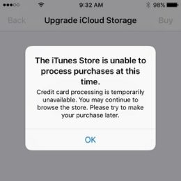 itunes store is unable to process purchases prompt