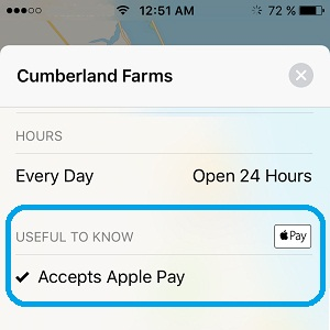 Maps hit for store that accepts Apple Pay.