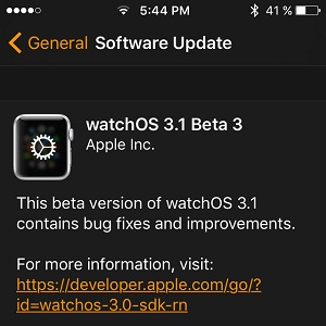 watchos 3.1 beta 3 software update