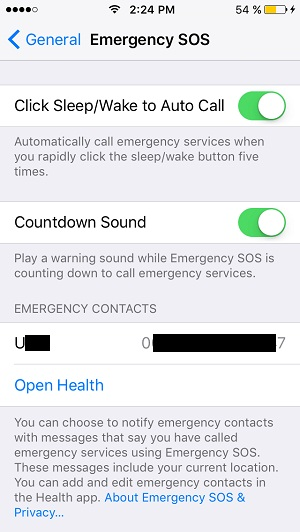 Iphone Emergency Call Settings