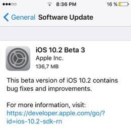 iOS 10.2 Beta 3 Software Update