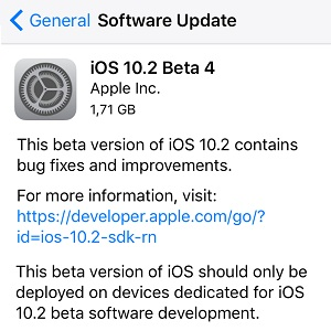 iOS 10.2 beta software update