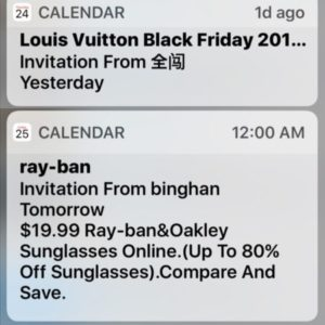 iOS Calendar Spam Notifications.