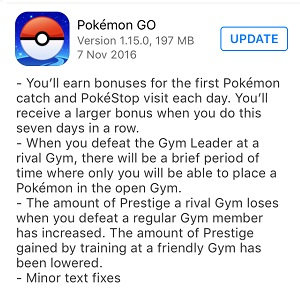 Pokemon GO 1.15.0 iOS Update