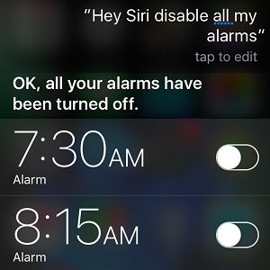 Siri disabling all iPhone alarms.