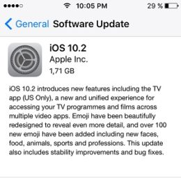 iOS 10.2 Software Update