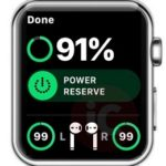 apple watch displaying AirPods battery level