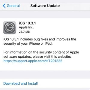 ios 10.3.1 update log