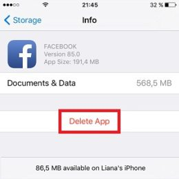 ios facebook storage info page