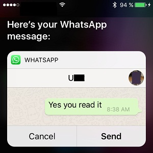 siri sends whatsapp message via voice command