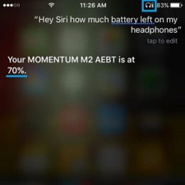 siri speaking out battery level for bluetooth connected headset