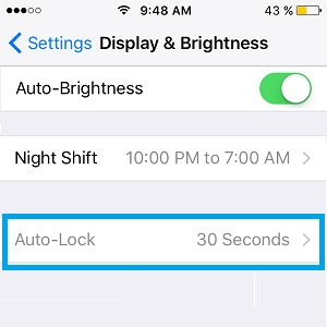 greyed out iphone auto-lock setting