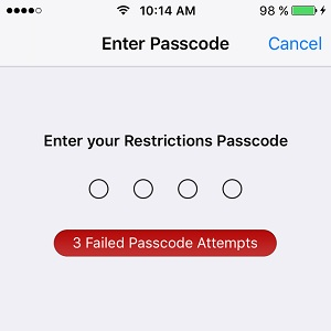 ios restrictions failed passcode attempt