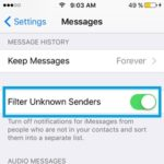 messages filter unknown senders feature