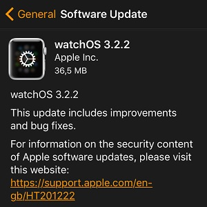 watchos 3.2.2 software update screen