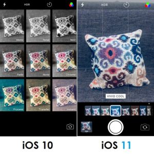 camera filters screen in ios 10 vs ios 11