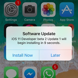 ios 11 developer beta 2 update 1 install now prompt