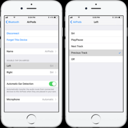 ios 11 double-tap airpods to change track setting