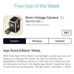 8mm vintage camera free app of the week