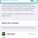 iphone location services setting on