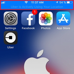 ios 11 blue status bar for location services usage