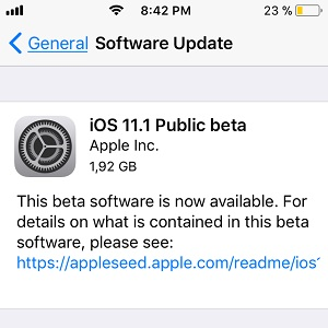 ios 11.1 public beta software update screen