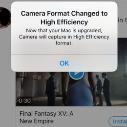 ios 11 camera format changed to high efficiency prompt