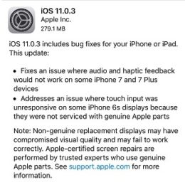 ios 11.0.3 release notes