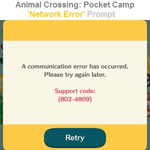 animal crossing pocket camp network error