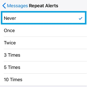 How To Disable Repeat Alerts For Message Notifications On