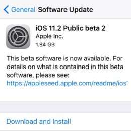 ios 11.2 public beta 2 software update