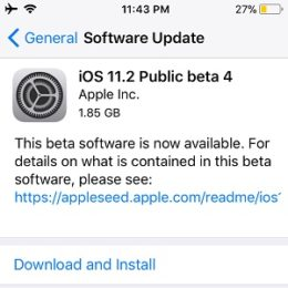 iOS 11.2 Public beta 4 Software Update.