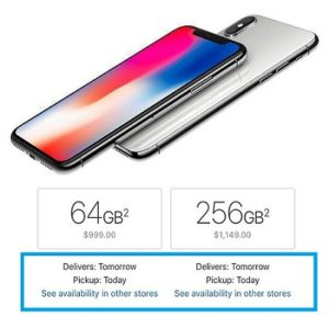 iPhone X next-day availability.