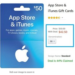 Lightning Amazon iTunes Gift Cards deal.