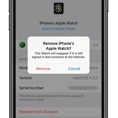 How do i remove a watch from my apple account